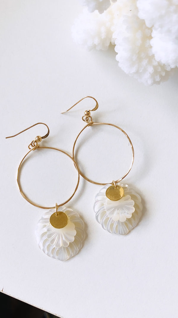 Monstera + shell leaf hoop earrings