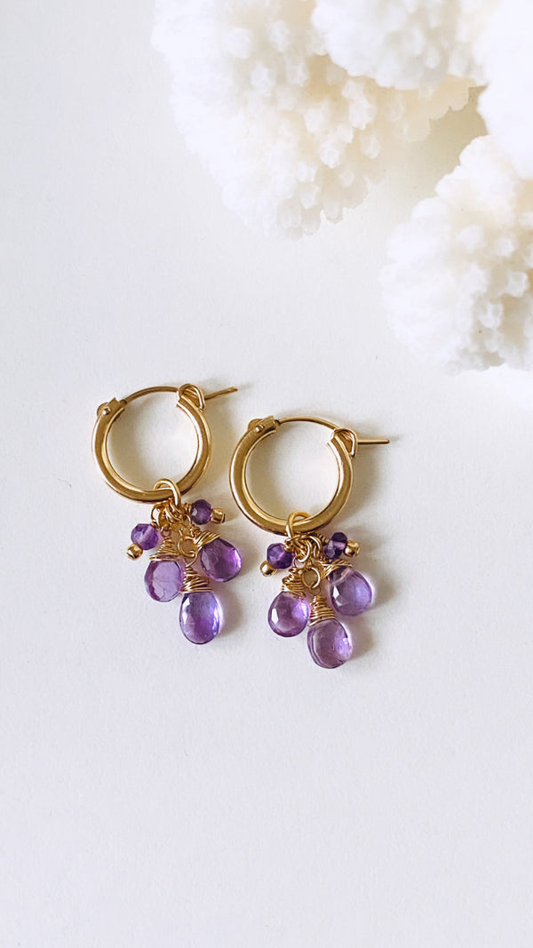 Amethyst Cluster Huggy Earrings