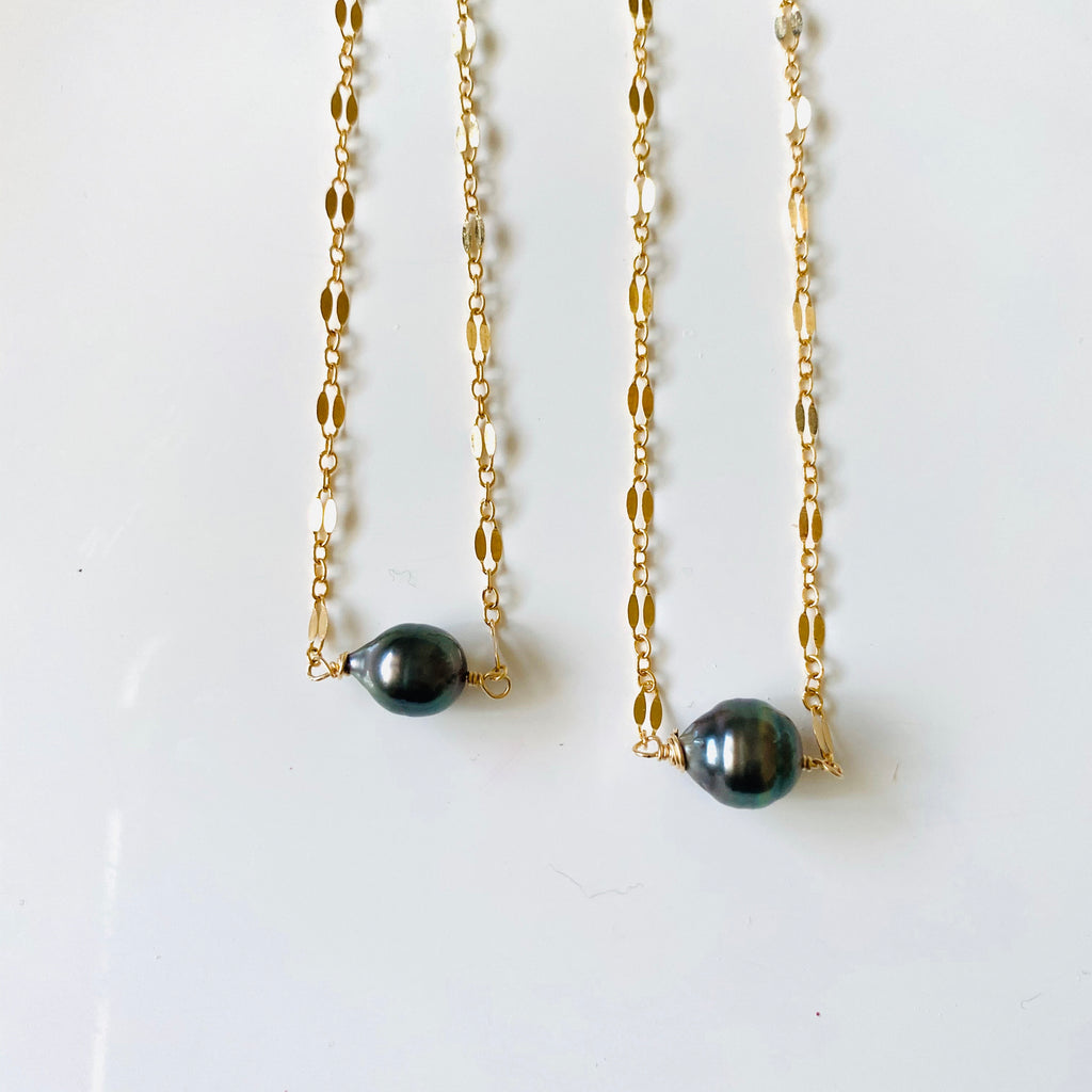 TAHITIAN Pearl fancy chain necklace