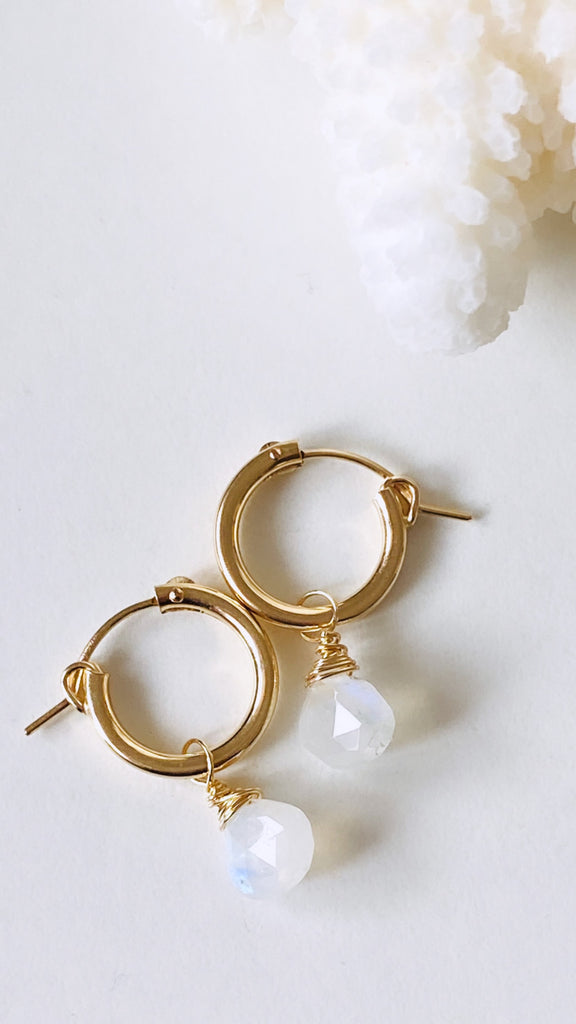 Moonstone Huggy Earrings