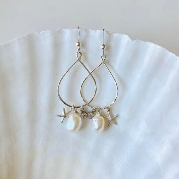 Silver Starfish teardrop earrings