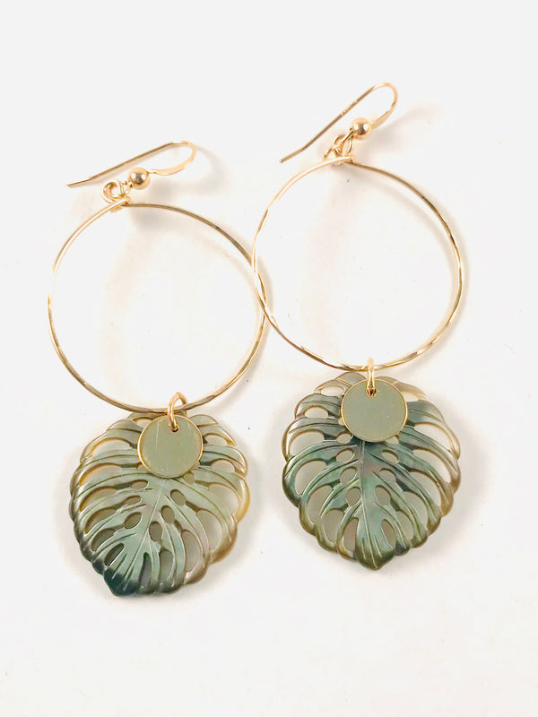 ABALONE large Monstera leaf Hoop earrings