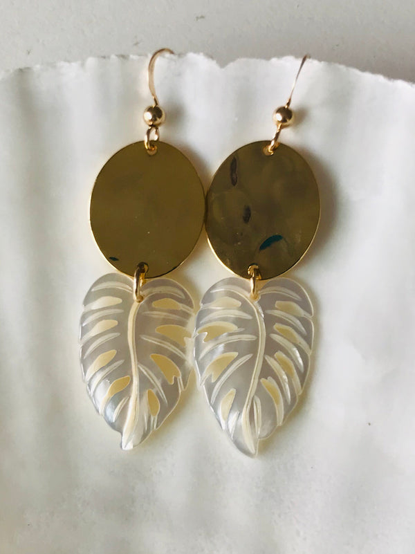KALO leaf + oval charm earrings