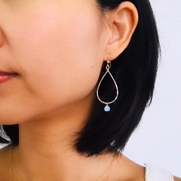 Simple OPAL teardrop earrings