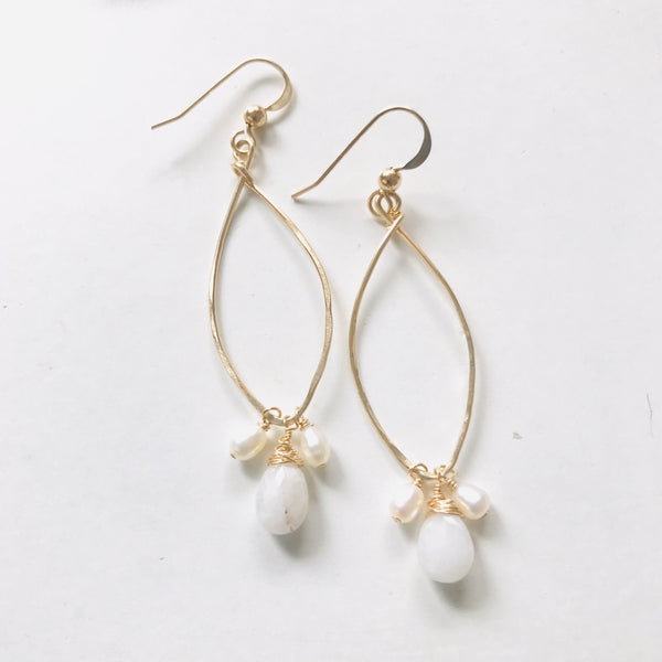 Triple Freshwater pearl earrings