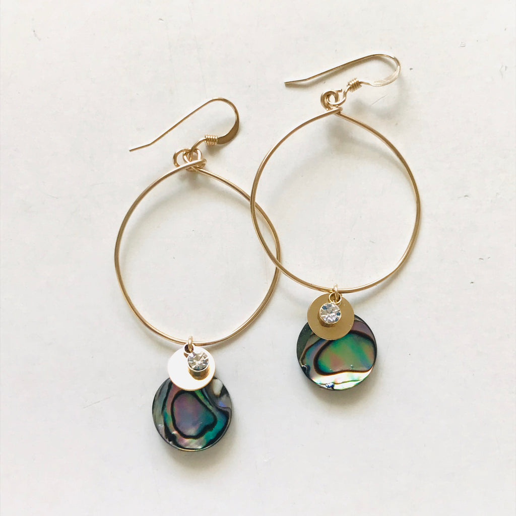ABALONE hoop earrings with earwires