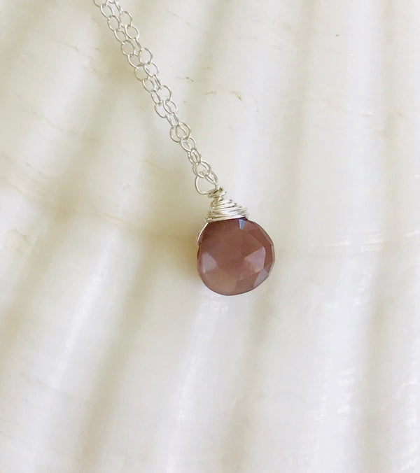 Silver Simple gemstone necklace