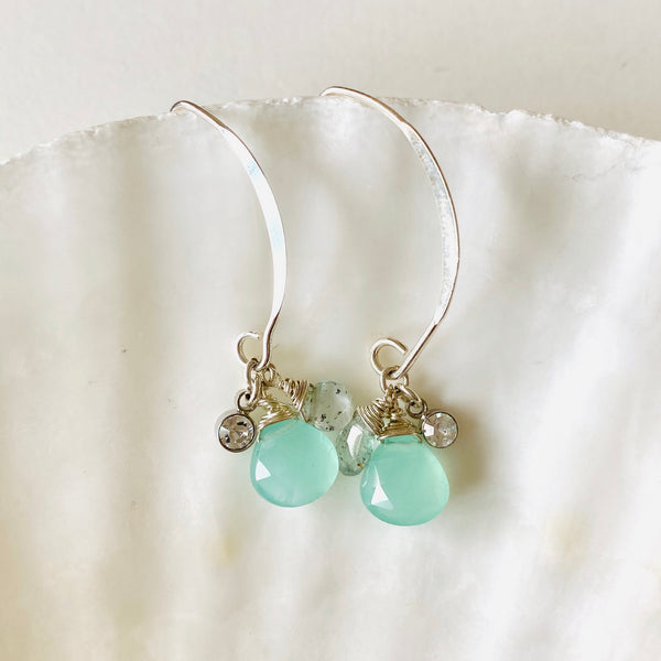 Silver MOMONA earrings Aqua chalcedony