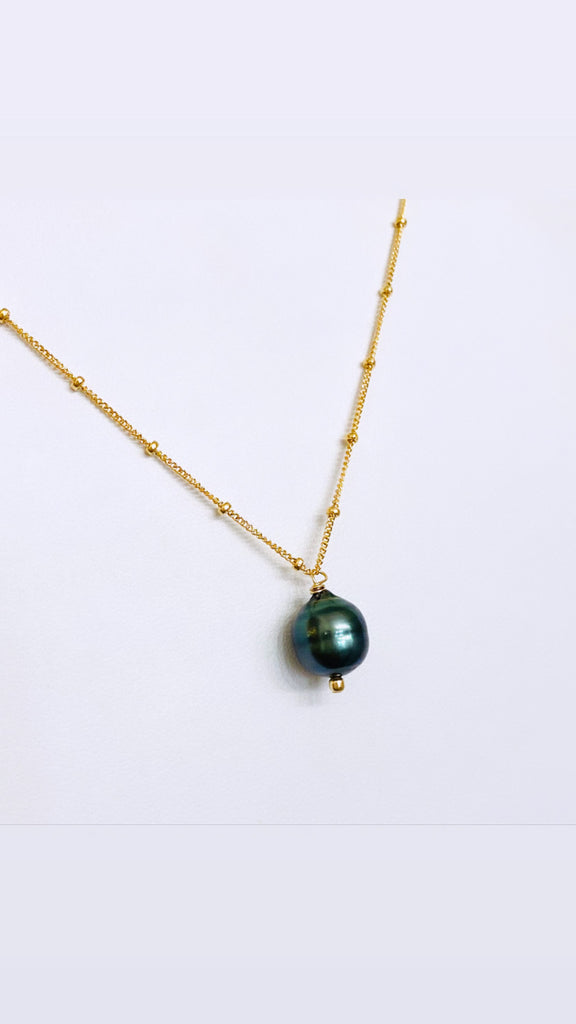 TAHITIAN Pearl PEACOCK beaded necklace