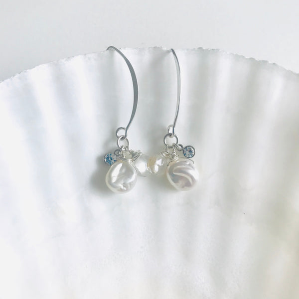 Silver MOMONA - Freshwater Pearl earrings