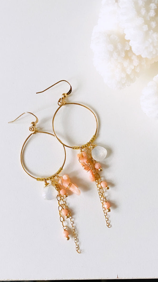 Angelskin coral hoop earrings