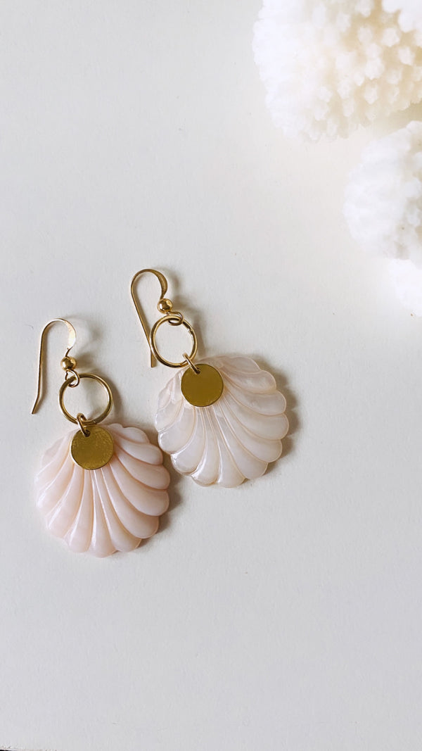 Pink Mother of Pearl shell earrings
