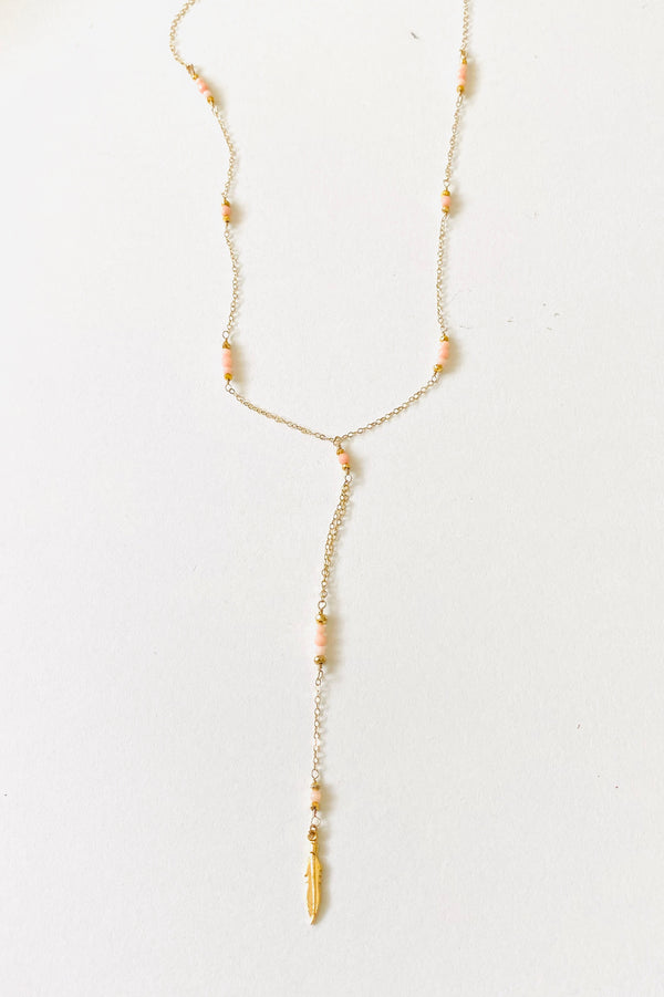 Coral beaded long necklace