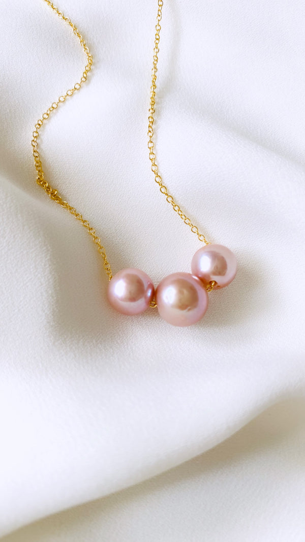 TRIPLE EDISON Pearl floating necklace