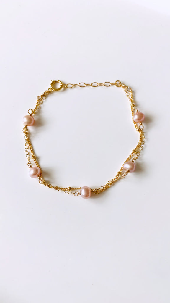 Edison Keshi double beaded chain bracelet