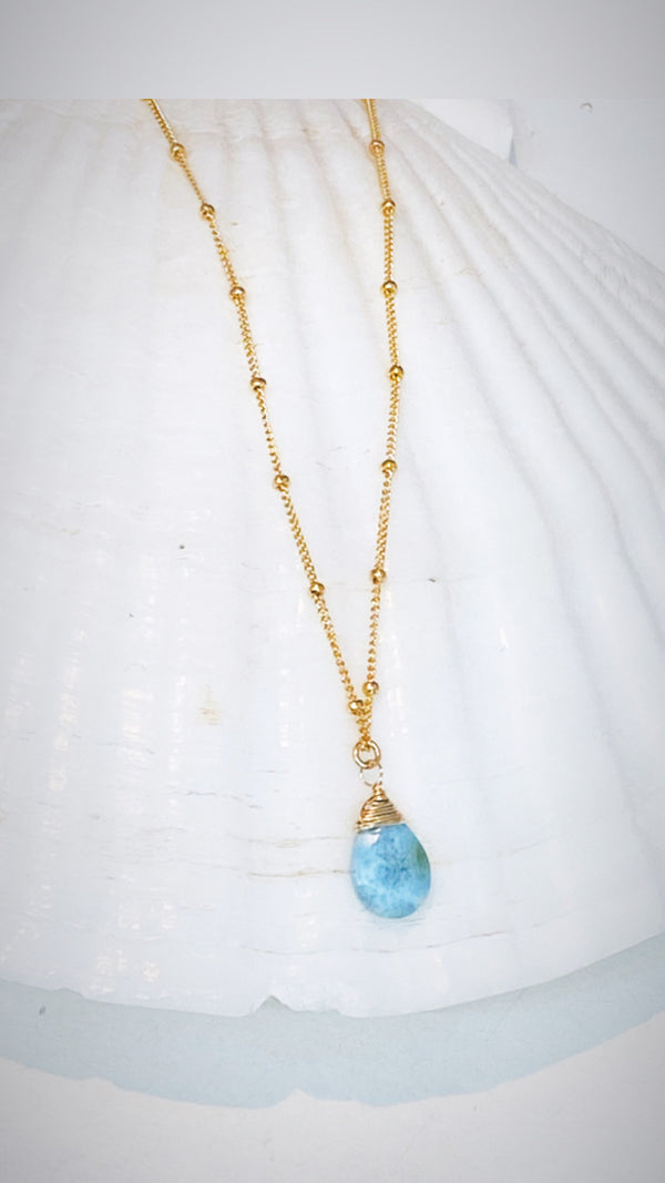 Beaded chain gemstone necklace