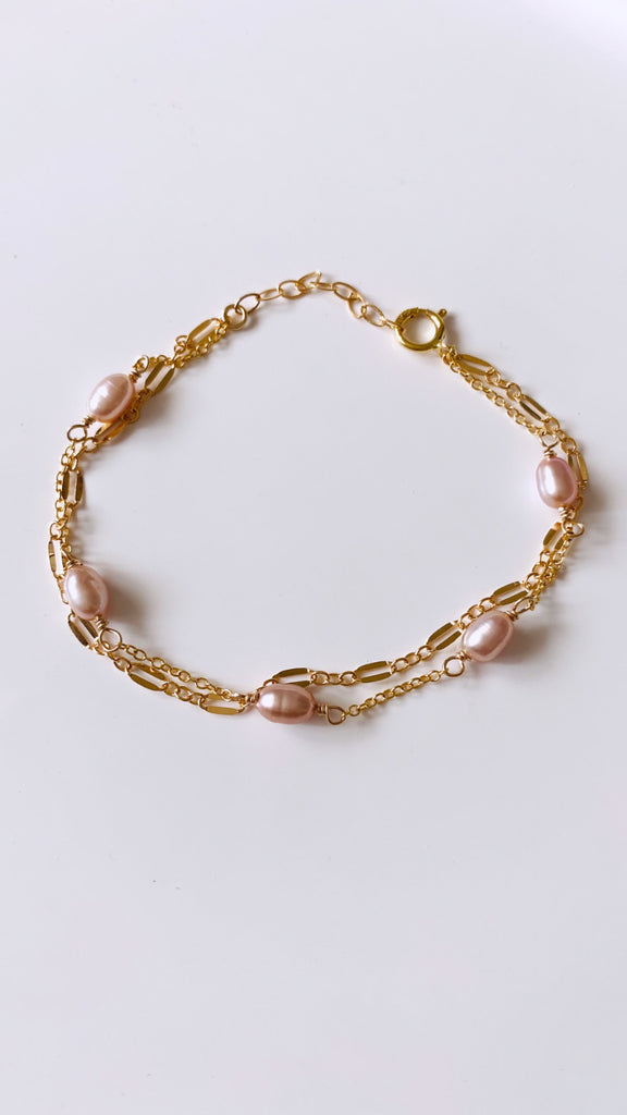 Edison Keshi double ladder chain bracelet