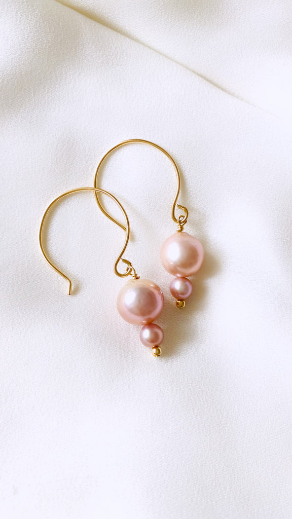 Edison Pearl + Keshi Half Hoop earrings