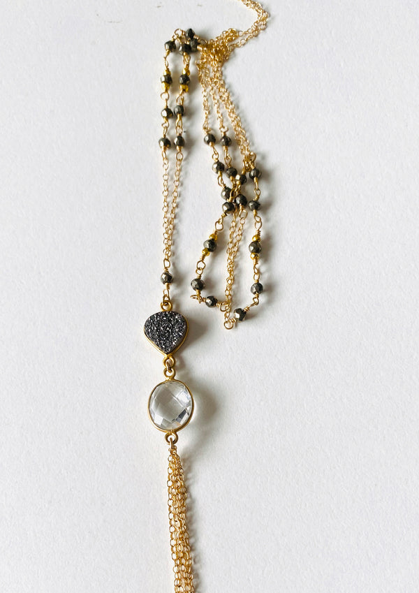 Pyrite long necklace with Druzy