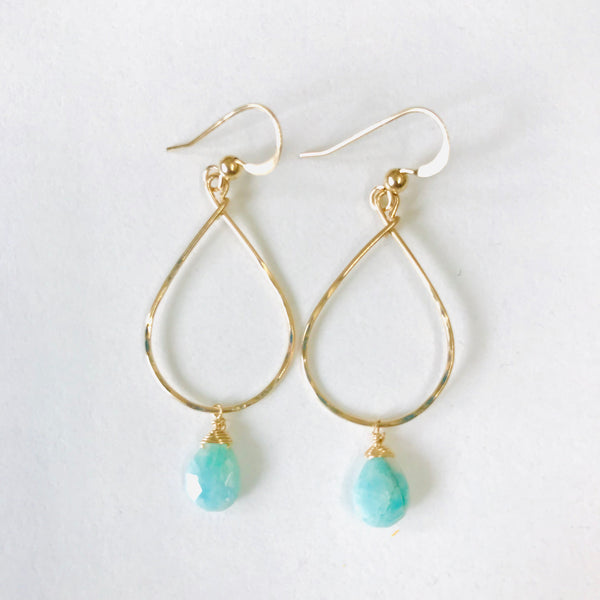 Simple Amazonite teardrop earrings