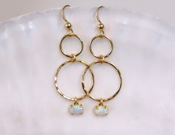 DOMINICA double link earrings with opal
