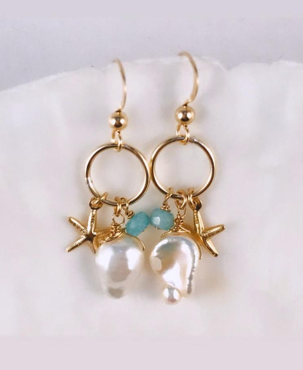 Freshwater pearl D-earrings