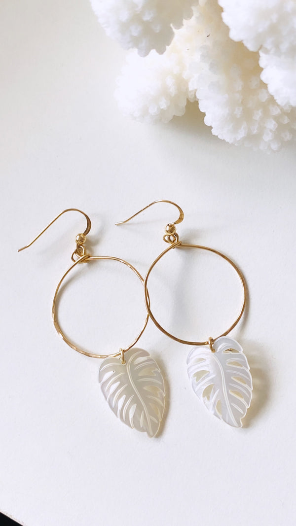 Banana leaf hoop earrings