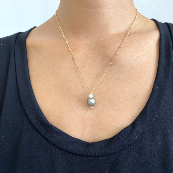 Tahitian Pearl + Opal necklace
