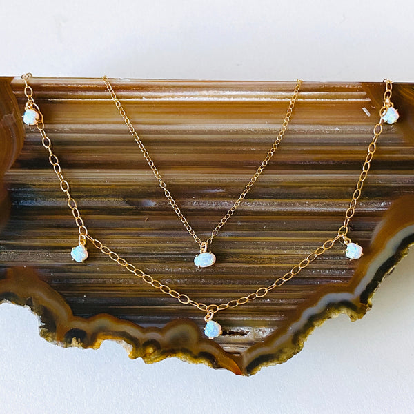 Opal 5 charm necklace