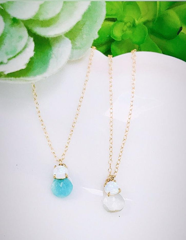 Opal gemstone necklace