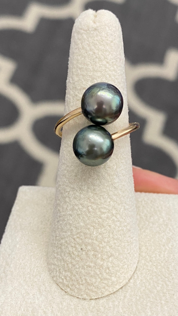 Double Bronze & Deep Green Tahitian Pearl ring size 5-6