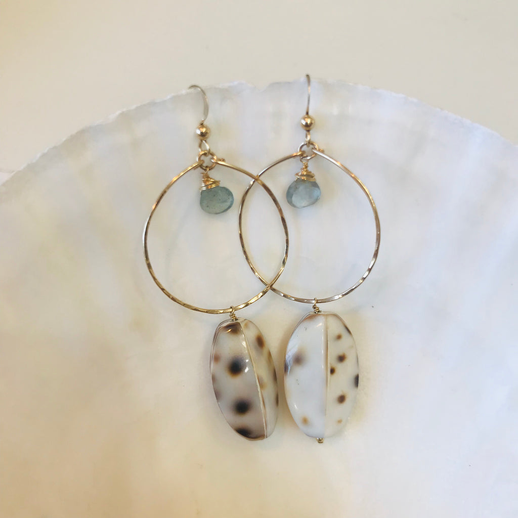 Tiger Cowry shell hoop earrings with moss aquamarine