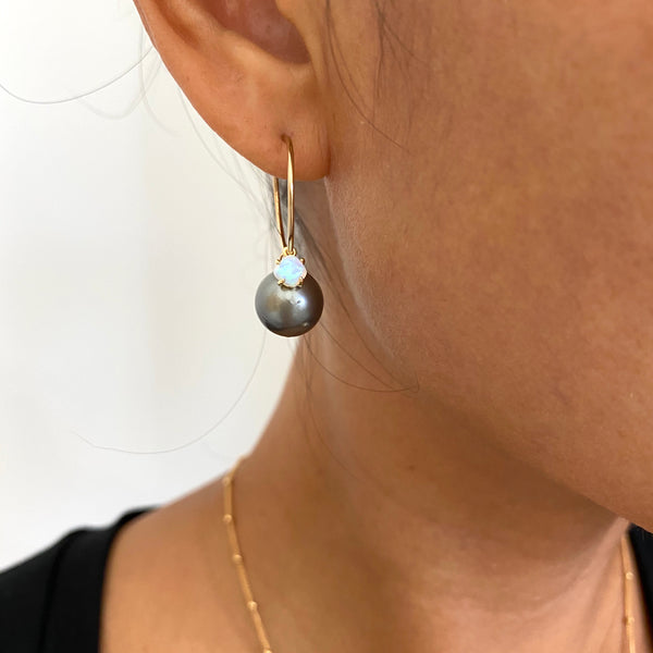 Tahitian Pearl + Opal Hoop Earrings