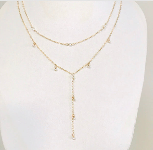 Dewdrop lariat necklace set