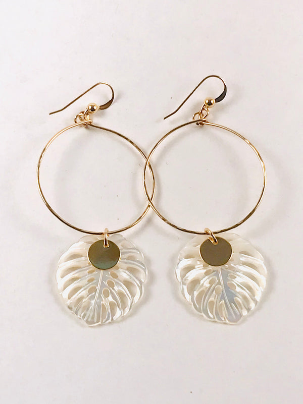 MOTHER of Pearl large Monstera leaf Hoop earrings