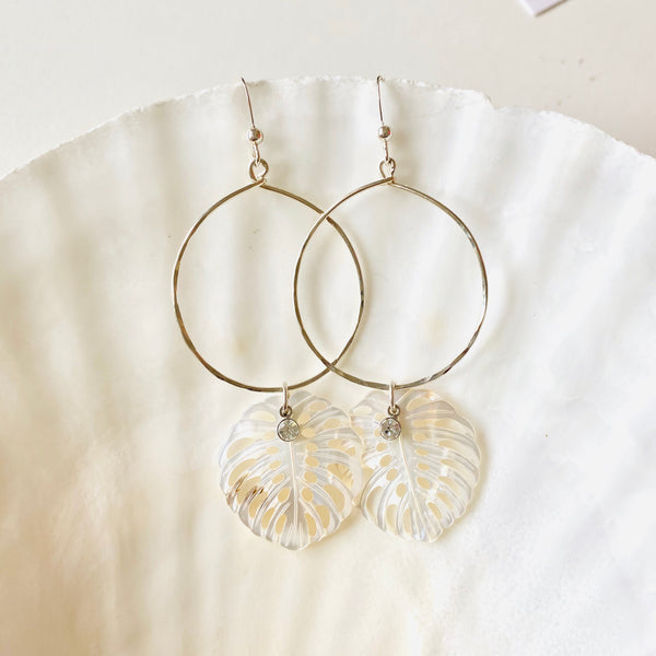 Large SILVER LAU leaf + CZ hoop earrings