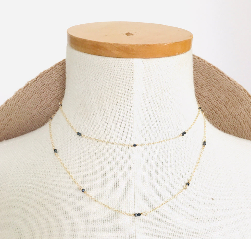 DEWDROP Black spinel choker necklace