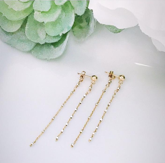 Two tone post threader earrings