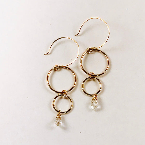 DOMINICA - Herkimer Diamond double open link earrings