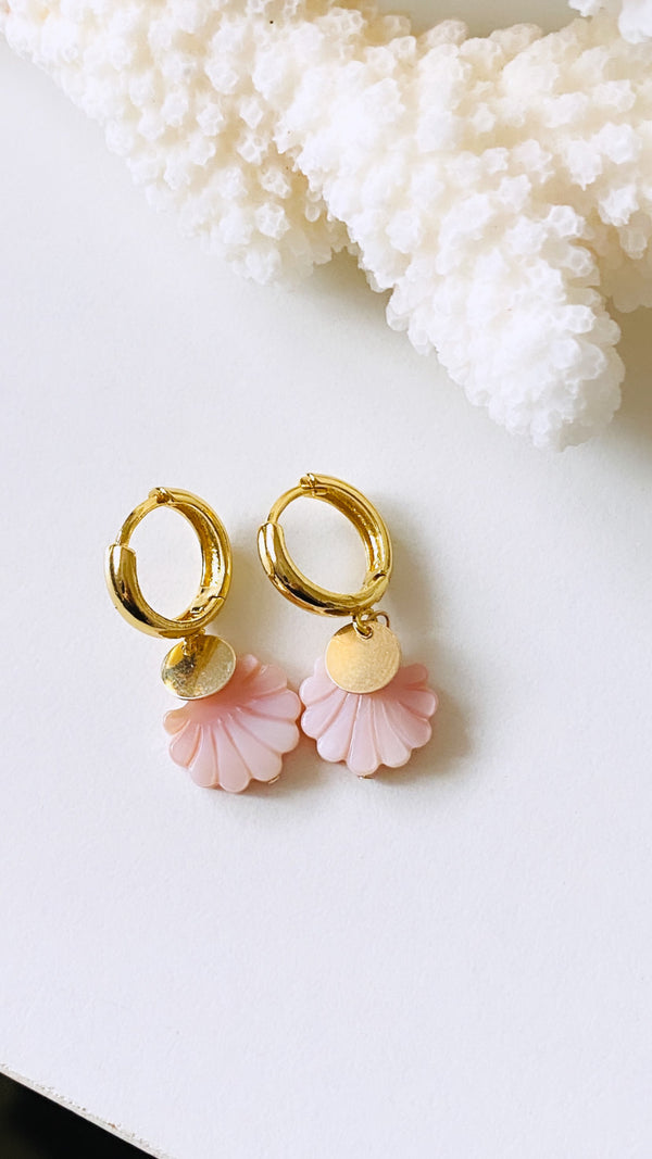 Pink shell huggy earrings