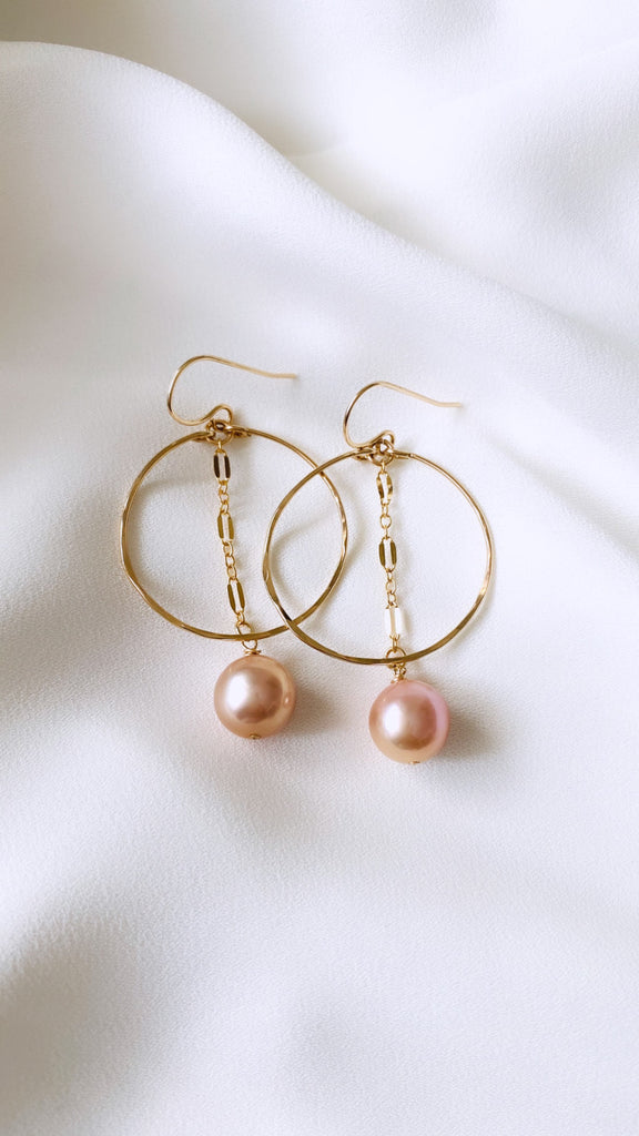 Edison Pearl Hoop + Chain Earrings