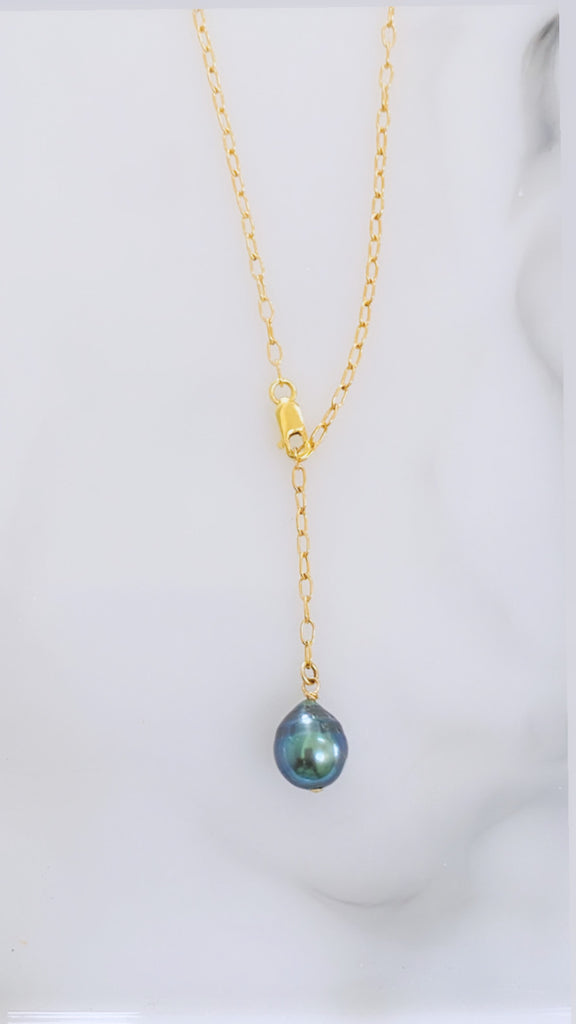 Blue Tahitian lariat necklace