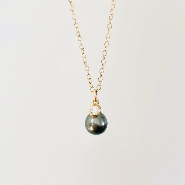 TAHITIAN Pearl + Cubic Zirconia necklace