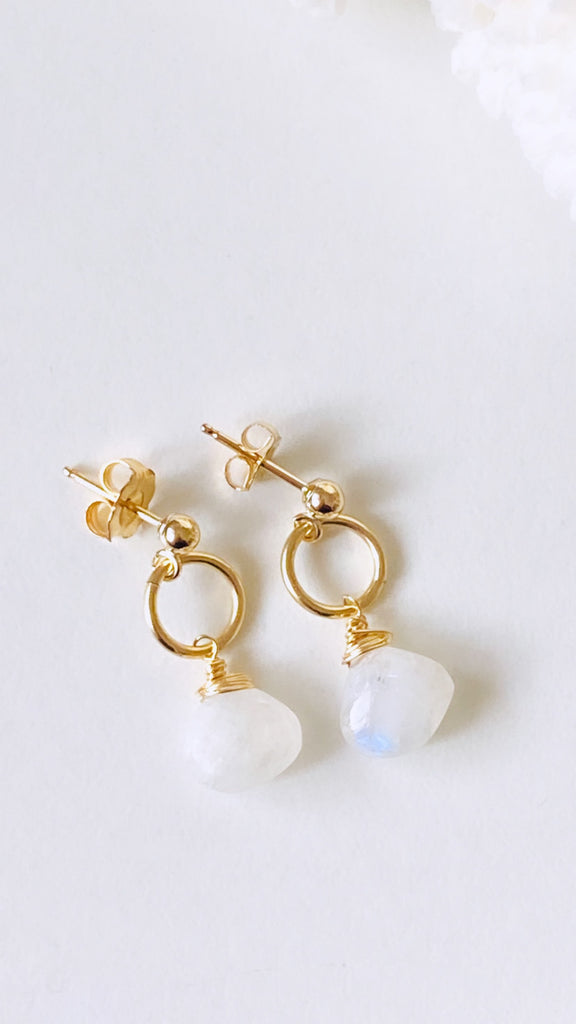 Rainbow Moonstone Post earrings