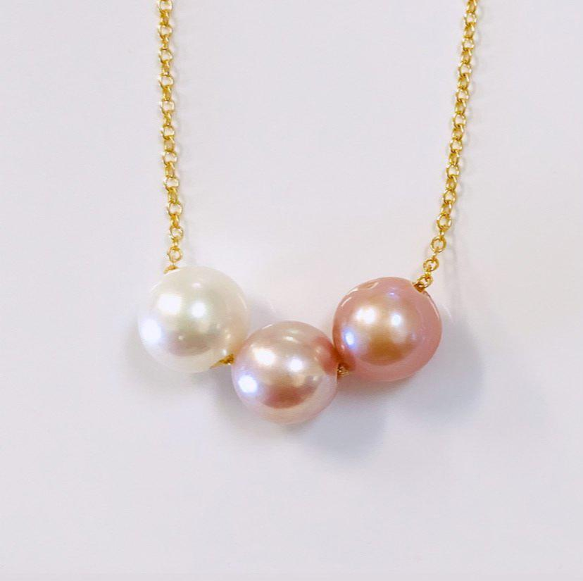 OOAK Triple ombré Edison  Pearl floating necklace