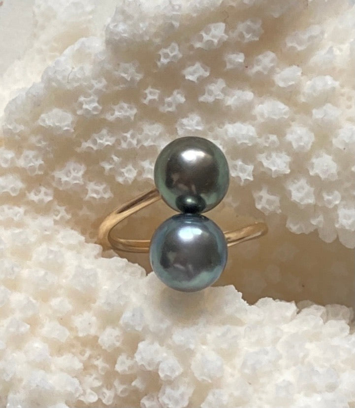 Double Blue and bronze Tahitian Pearl ring size 5-6