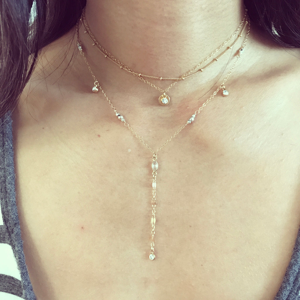 TWINKLE DELUXE two tone lariat with cubic zirconia