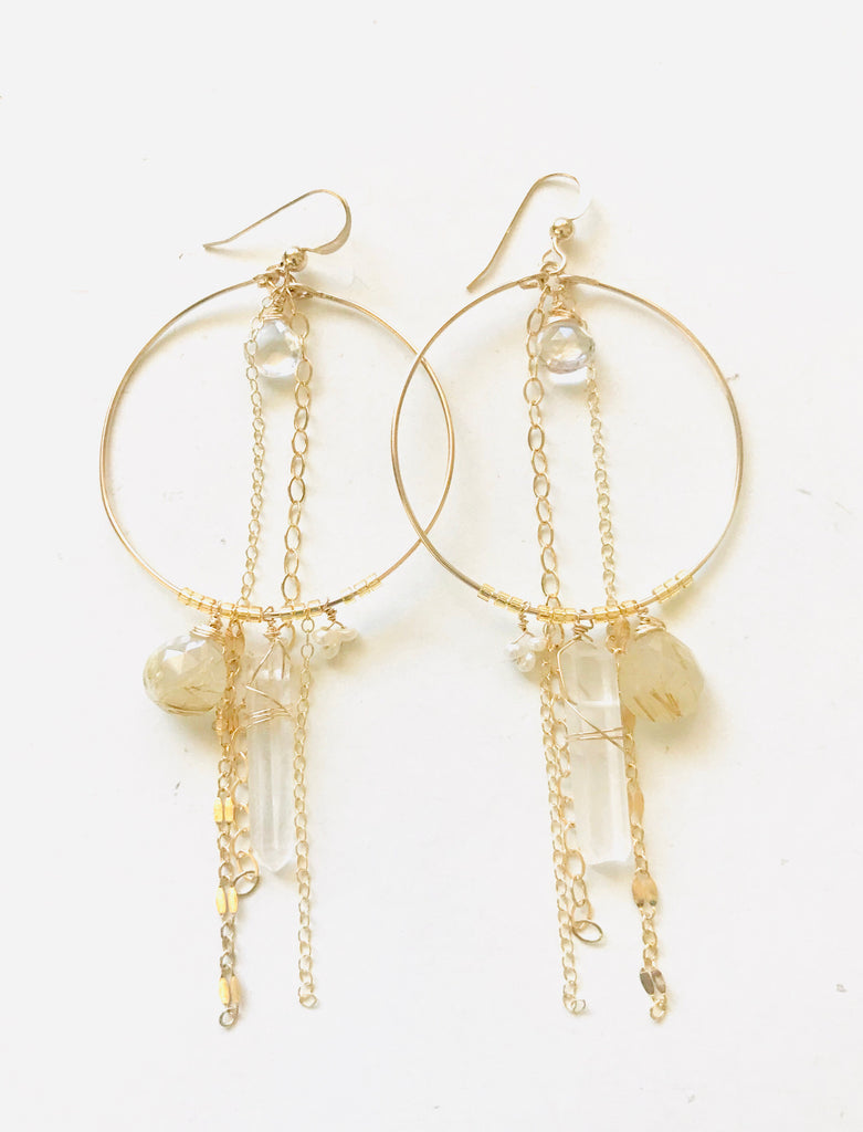SOLANA statement earrings - Clear quartz