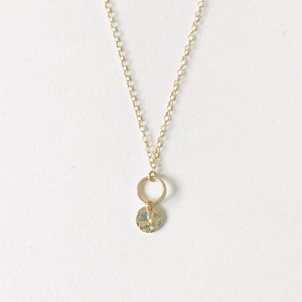 DISCO Double open disc gold necklace