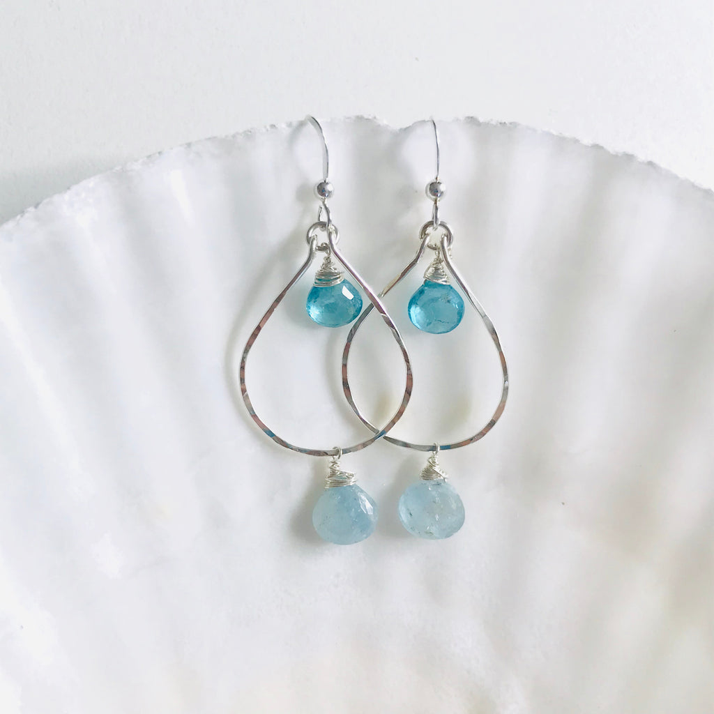 Silver Aquamarine & Apatite double gem earrings